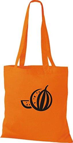 ShirtInStyle Stoffbeutel Baumwolltasche Dein Lieblings Obst und Gemüse Melone Farbe Pink orange