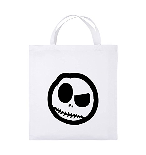 Comedy Bags - BÖSER SMILY - COMIC - Jutebeutel - kurze Henkel - 38x42cm - Farbe: Schwarz / Silber Weiss / Schwarz