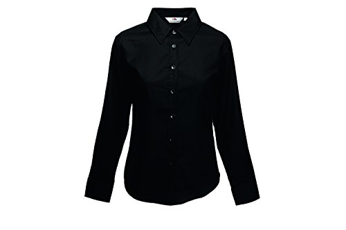 Fruit of the Loom Damen Hemd Lady Fit Long Sleeve Oxford Shirt Schwarz (Black 36)