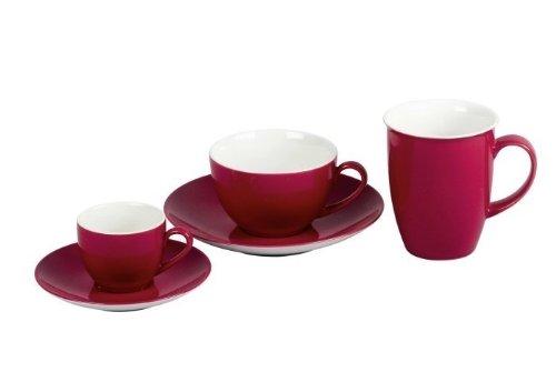 Flirt by R&B 515534 'Doppio' Kaffeebecher/Kaffeetasse 320 ml, Ø 9 x 10 cm, rot (6er Pack)
