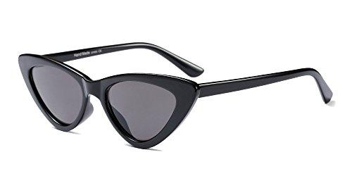 BOZEVON Damen Triangle Sonnenbrille - UV400 Brillen Katzenauge Retro Jahrgang Cat Eye Sonnenbrillen Schwarz Grau