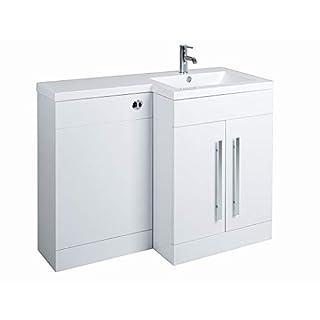 Aquariss Calm Möbel-Set in Weiß mit Integriertem Spülkasten und rechtsseitigem Waschbecken