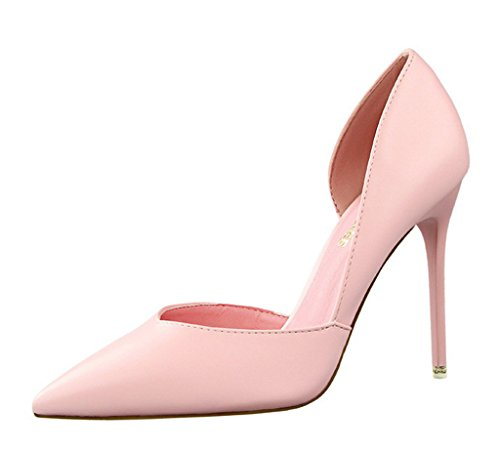 Minetom Mujer Primavera Dulce Clásico Caramelo Colors High Heel Shoes Stiletto Zapatos de Tacón Atractivo Pumps Court Shoes Rosa EU 37