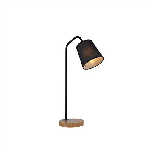 uus Lampe de table en bois massif en métal tissu noir couleur blanc couleur chambre lampe de chevet E27 ampoule base 28 * 50cm (économie d'énergie A +) (Couleur : Noir, taille : 28 * 50cm)