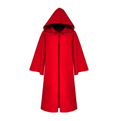 Meiju mantello con cappuccio costume di halloween capo masquerade felpa con cappotto del fantasma del partito cosplay da cavaliere carnevale (bambino l,rosso)