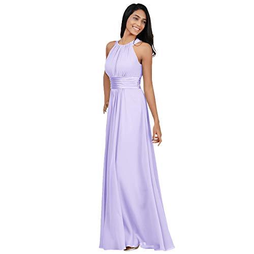 Obeeii vestito elegante da donna senza maniche abiti da cerimonia per sera cerimonia festa cocktail matrimonio viola chiaro eu54