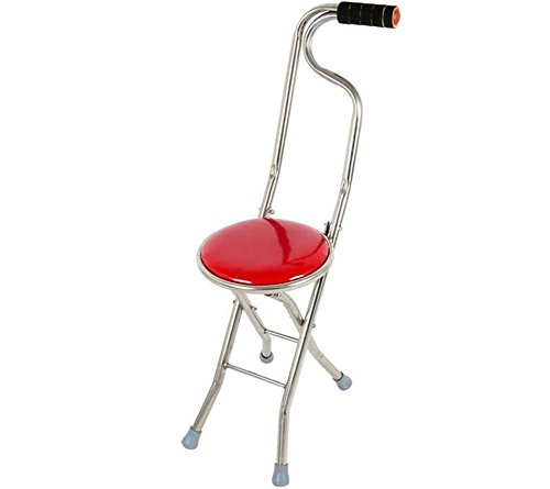 Vorteil Krücken (Krücken,Folding Travel Stock Seat Camp Hocker Stuhl Wandern Stock Stock (rot))