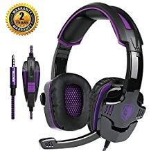Sades sa-9303,5mm Gaming Headsets mit Mikrofon Geräuschunterdrückung Musik Kopfhörer Schwarz-Grün für PS4Neuen Xbox One Laptop Tablet PC Handys Schwarz/Violett