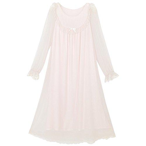 JINSHENG Frauen tragen Lange Spitzen Sommer Lange ärmel modle Gericht Wind Netto Gaze dünne Prinzessin süß Wind lose Pyjamas,165 (L),Pink,