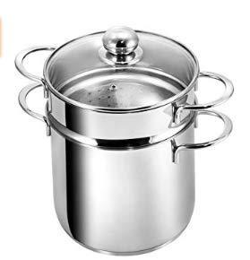 SHAIK ® HA-001 Pastatopf 5L Spargeltopf hoch mit Glasdeckel, Edelstahl poliert, Dampfgarer, Topf mit Siebeinsatz spülmaschinengeeignet induktion