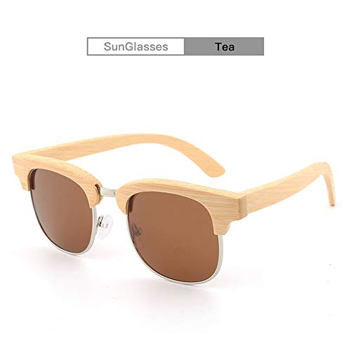 DING-GLASSES Sonnenbrille Bambus Sonnenbrillen aus Holz HandmakeNew polarisierten Farbfilm Sonnenbrillen beschichtet Bambus Brillen Fashion Half Frame Bambus Sonnenbrillen Retro (Color : Brown)