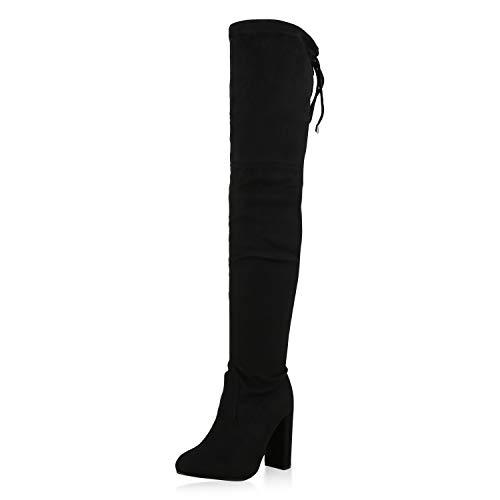 SCARPE VITA Damen Overknees Stiefel High Heel Boots Wildleder-Optik Schuhe 173666 Schwarz Black ()