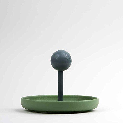 Corbeille à fruits vide poche céramique mat vert hêtre fait à la main