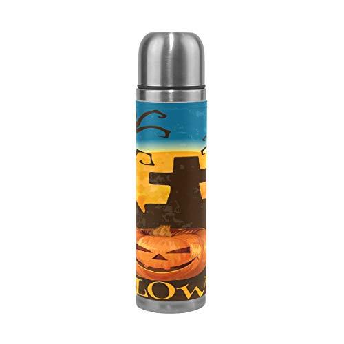 BIGJOKE Halloween-Thermosflasche mit Kürbis-Zitat, 500 ml, vakuumisoliert, für Kinder, Fitnessstudio, Mädchen
