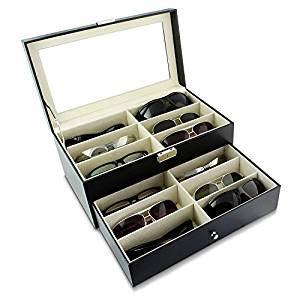 Wof Brillenetui mit 12 Fächern für Brillen und Sonnenbrillen, Aufbewahrungsbox, solides Oberteil, Schwarz, doppelschichtiges Brillenetui