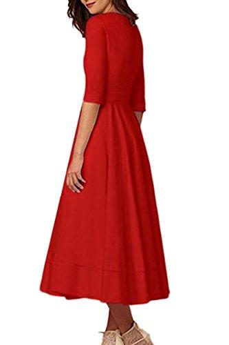 YMING Damen Cocktailkleid Elegantes Vintage 1/2 Arm Partykleid Tief V Ausschnitt Midikleid,S-XXL Rot