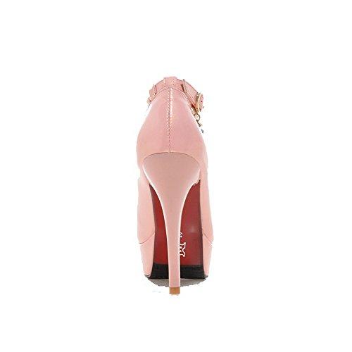 VogueZone009 Femme Couleur Unie Matière Souple à Talon Haut Boucle Rond Chaussures Légeres Rose