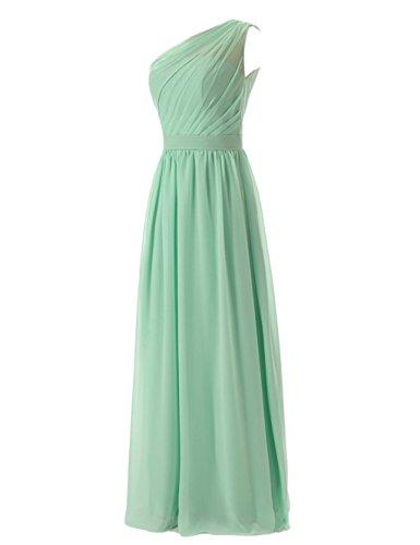 Fanciest Damen One Shoulder Lang Brautjungferkleider Formelle Wedding Party Kleider Gray Champagne