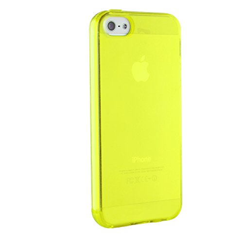 Urcover® iPhone 5 / 5s / SE Hülle, TPU / Silikon Schutzhülle Ultra Slim Transparent Crystal Clear durchsichtig Klar Case Cover Smartphone Zubehör Schale Handyhülle für Apple iPhone 5 / 5s / SE Farbe:  Gelb