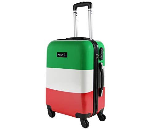 Trolley da cabina 50 cm valigia rigida 4 ruote in abs policarbonato stampato a fantasia antigraffio e impermeabile compatibile voli lowcost come Easyjet Rayanair art bandiera italiana