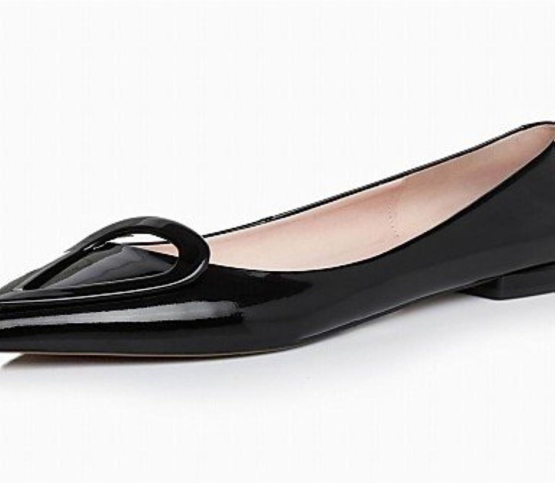PDX soporte de De Vaca/de zapatos de mujer talón moda botas/punta Toe Flats Casual negro/rojo