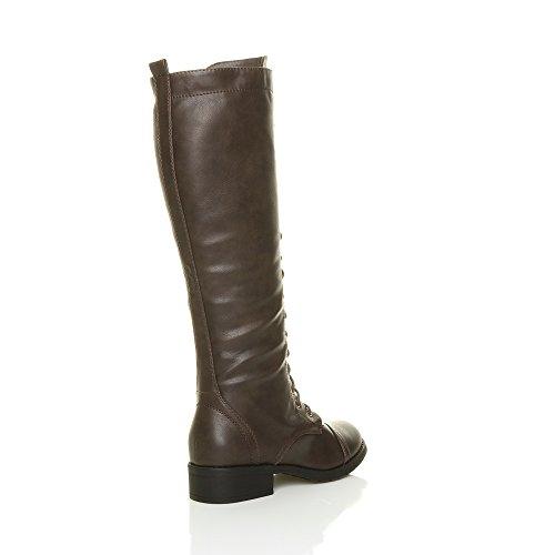 Femmes talon bas hauteur du genou mollet armée lacer bottes militaires pointure Brun