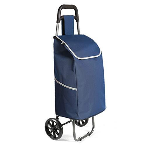 QIANGDA-Handwagen Einkaufstrolley Faltbar Einkaufswagen Reisewagen Auslaufsicherer Boden Leicht Tragbar Verschleißfeste PU-Räder, 6 Farben (Farbe : Dunkelblau)
