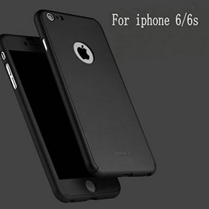 JMV iPhone 6 Case 4.7 Inch All-round All-round Protective Slim Fit Case Cover with Tempered Glass Screen Protector Skin Slim Fit Case Cover for Apple iPhone 6/6S 4.7 Inch (Black)