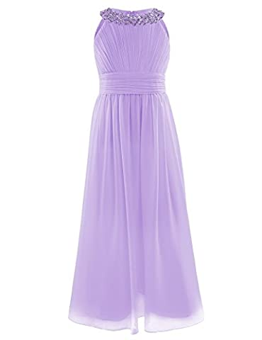YiZYiF Beaded Neck Chiffon Flower Girl Dress Princess Summer Wedding Dance Ball Prom Evening Gowns Lavender 3-4
