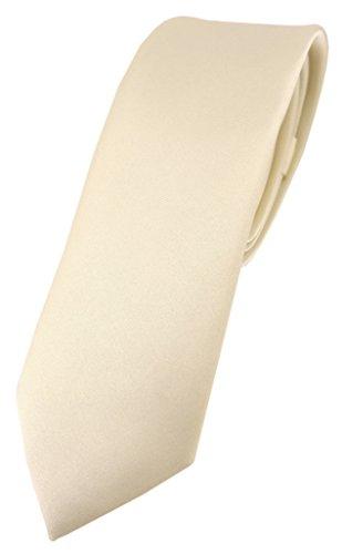 TigerTie schmale Designer Krawatte in beige einfarbig Uni - Tie Schlips