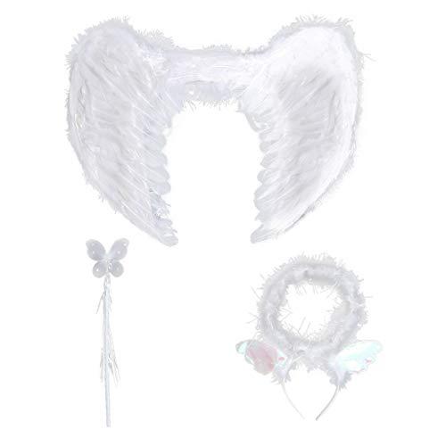 Engel Muster Kostüm - Amosfun Engel Kostüm Heiligenschein Federn Flügel Zauberstab Karneval Cosplay Party Kostüm für Kinder 3 Stück Größe S (Zufällige Muster)