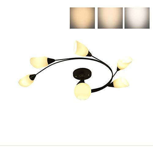 HYH * Moderne Metall-Deckenleuchte, E27 Kreative Retro-Glasschirm-Deckenleuchte für Flurküchen-Kronleuchter Beleuchtungskörper Schwarz-C-6-Tricolor 96cmx33cm EIN schönes Leben -
