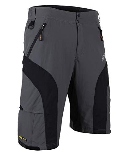 Santic Pantaloncini Larghi da Uomo per Bici/MTB con Rivestimento Imbottito Staccabile in Gel 3D Coolmax