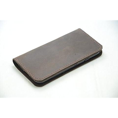 6S iphone de cuero genuino, más caja de cuero para el iphone 6 / 6S plus caso del iphone caso 6 de cuero marrón-oscuro iphone 7 plus, más hecha a mano iphone 7 case