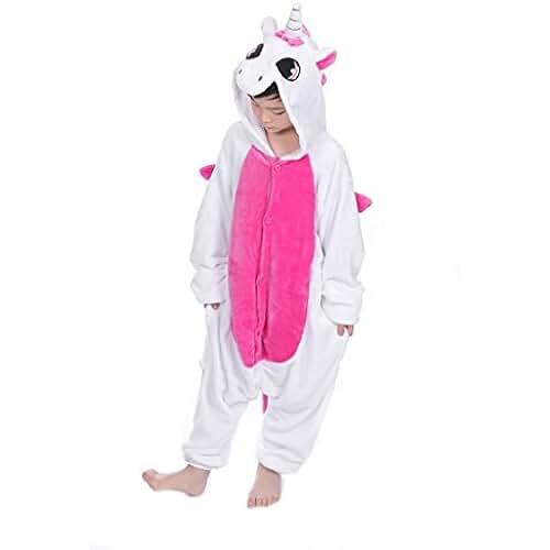 pijama de unicornio kawaii Tuopuda Kigurumi Pijama Animal Entero Unisex para Niños con Capucha Ropa de Dormir Traje de Disfraz para Festival de Carnaval Halloween Navidad