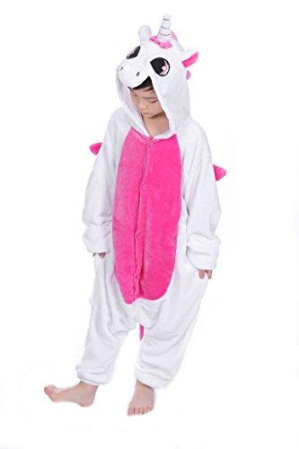 Imagen de tuopuda kigurumi pijama animal entero unisex para niños con capucha ropa de dormir traje de disfraz para festival de carnaval halloween navidad xl = 120  130 cm height, unicornio rosa