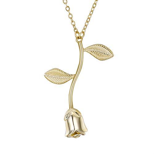 Clearine Damen Halskette 925 Sterling Silber Vintage Rose Anhänger Kette 14K Gold-Toned