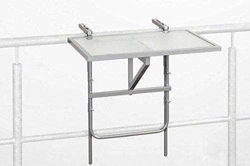 baumarkt direkt Balkonhängetisch, Stahl/Glas, klappbar 40 cm, 60 cm, silberfarben