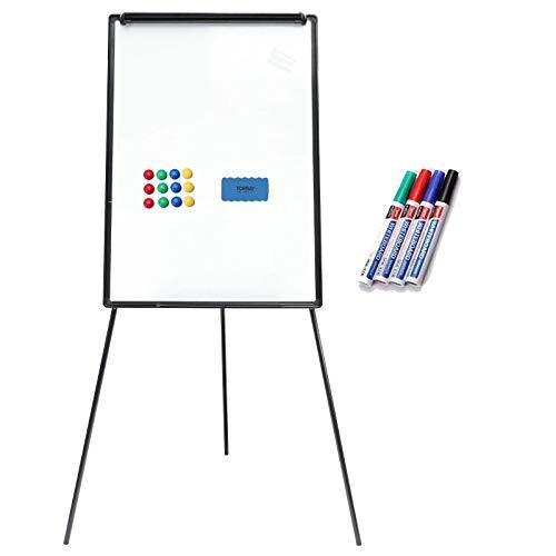 Yorbay 2 in 1 Flipchart und Whiteboard mit Dreibein Ständer 70 x 100 cm, stufenlos höhenverstellbar, zusammenklappbar Triangle, inkl.Tafellöscher und 4 Stifte und 10x Magnete