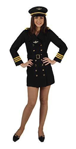 Fliegerinnen Kostüm - narrenkiste T0981-0100-S schwarz-Gold Damen Pilotin Piloten-Flieger Kleid Gr.S