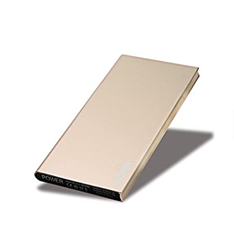 Power Bank, DoSHIn 12000mAh Ultra Thin Metal Aluminium Batterie Externe Dual USB Chargeur Portable avec Recharge Rapide pour iPad, iPhone, Samsung, HTC, HuaWei, etc(Or)