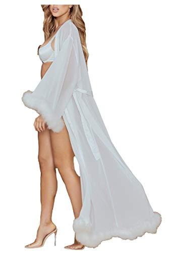 ShineGown Damen Sexy Feder Robe Perspektive Schier Seidenchiffon Dessous Extra Langer Bademantel mit Pelzbesatz Nachthemd Pyjamas Nachtwäsche (Dessous Roben Lange)