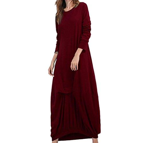 Elecenty Maxikleid Damen,Frauen Reizvolle Abendkleider Solide Kleid Herbstkleid Lose Blusekleid...