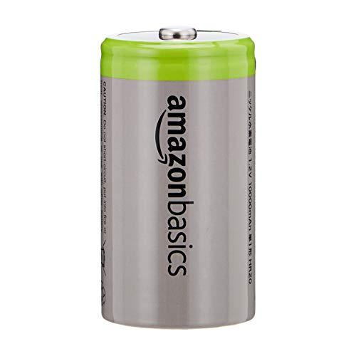 AmazonBasics - D-Zellen, wiederaufladbare Batterien, 10.000 mAh NiMH, 4er-Packung