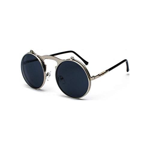 HUILIN Vintage Steampunk Circle Retro Runde Klappe Sonnenbrille Frau Herren Punk Style Sonnenbrille Metallrahmen, Silber Schwarz