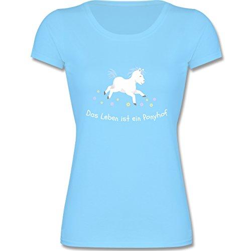 Shirtracer Tiermotive Kind - Das Leben ist ein Ponyhof - 140 (9-11 Jahre) - Hellblau - F288K - Mädchen T-Shirt (Leben Mädchen Das Shirt Gut Ist)