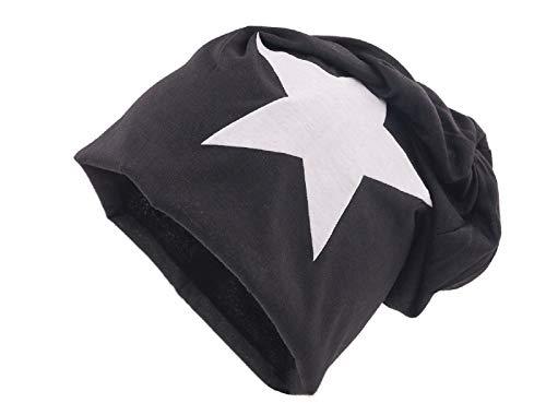 shenky schwarzer Beanie mit weißem Stern Frühlingsmütze Mütze Herren Damen beste Qualität