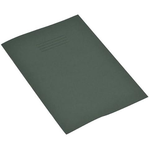 RHINO - Quaderno formato A4, 48 pagine a quadretti da 7 mm, colore copertina: Verde scuro (confezione da 10)
