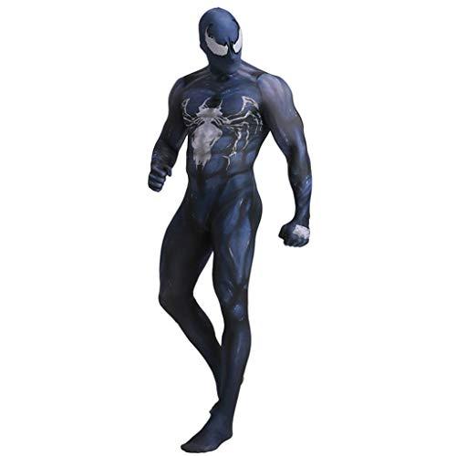 Venom Frauen Kostüm - Henxizucun Herren Venom Spiderman Halloween Cosplay Overall Body Performance Anzug Venom Symbiose Spiderman Conjoined Kostüm Erwachsenen Anime Rollenspiel,Black,M