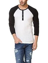 Urbano Fashion Men's White & Black Full Sleeve Henley T-Shirt